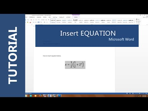 How to inset equation in Microsoft Word