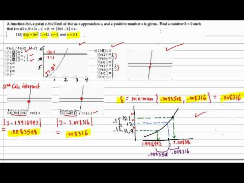 Find delta statisfying the limit definition given epsilon using the graphing calculator