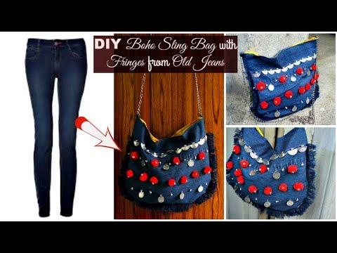 DIY Denim Sling Bag with Fringes from Old Jeans | DIY Boho Sling Bag | How to make a Bag from Jeans
