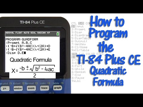 How to Program the TI 84 Plus CE with Quadratic Formula