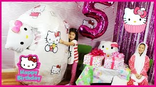 Ely and Ela opens the world's biggest Hello Kitty Giant Surprise Egg for Ela's 5th Hello Kitty Birthday Party. Inside the Hello Kitty giant egg surprise three presents, a Hello Kitty Airplane playset, a Hello Kitty Food truck playset, and lots of McDonald's Happy Meal Hello Kitty toys. When Ela cracks the Hello Kitty giant egg surprise open, Ely in a Hello Kitty costume gives Ela three super cool Hello Kitty presents.  Have you ever wondered how to write 'Hello Kitty' in Japanese? It's ハローキティ. This is a super exciting Hello Kitty toyハローキティ トイズ. There are so many Hello kitty toys inside the biggest Hello Kitty giant egg surprise in the world.  The first present is a Hello Kitty money box and Hello Kitty safe with lots of surprise toys inside. Ely covers the camera so no one can see the Hello Kitty safe password. Inside are McDonald's Happy Meal Hello Kitty toys: Hello Kitty Chef, Hello Kitty Swimming, Hello Kitty Picnic, Hello Kitty Evening Gown, Hello Kitty McCrew, Hello Kitty Tennis, Hello Kitty School Time, and Hello Kitty Night Gown.  The second present is a Hello Kitty Food Truck and Hello Kitty Cafe Truck, also called a Hello Kitty Drive-in Diner. The playset is so cool and comes with Jodie (sorry we thought the character's name was Thomas!), sandwiches, soda cans, and a table and chairs. The Hello Kitty fast food truck playset comes with burgers, sandwiches, soda, and so much more!   The third present is a Hello Kitty airplane playset. It comes with an awesome Hello kitty pilot and a huge airplane. The Hello Kitty Airlines playset is made by Jada Toys and includes three Hello Kitty characters:  Jodie, Fifi and Hello Kitty herself as the pilot. It also has the Hello Kitty Laptop, seat trays for food, and luggage for your trip. There is a Hello Kitty stamp that can be used with the passport and is located within the Hello Kitty camera. This Hello Kitty plane is also called the Hello kitty airlines playset and has a really cool Hello Kitty laptop, Hello Kitty stamps and passport, and a food cart and food in the Hello Kitty playset. It's one of the best Hello kitty toys in the world.  In this Hello Kitty video, Ely and Ela played with a Hello Kitty food truck, a Hello Kitty airplane, a Hello Kitty playset, and had awesome family fun for everyone making this Hello Kitty video. The girls had fun unboxing Hello Kitty toys and playing with the food truck and airplane. The Hello Kitty airplane playset had an awesome Hello Kitty pilot. These are all super fantastic and fun Hello Kitty toys 2016.  ★ Please SUBSCRIBE so you don