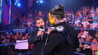 Jeff Hardy celebrates winning the World Heavyweight Championship