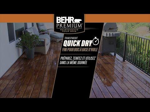 Fini pour bois à l'huile Quick Dry de BEHRMD – préparez, teintez et utilisez dans la même journée FR