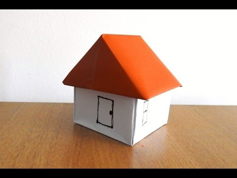How to make a Paper House easily..( Origami ) ~~ Step By Step Instructions /Tutorial .....
