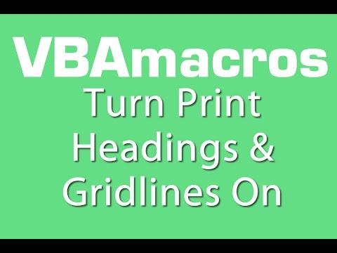 Turn Print Headings And Gridlines On - VBA Macros - Tutorial - MS Excel