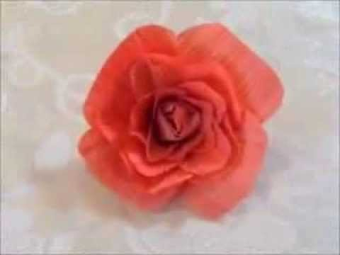 How to Make Recycle Flower from Corn Husk Leaves -- Hair Clip, Brooch, Room Decoration
