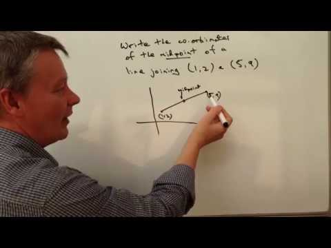 How to find midpoint coordinates of a straight line - Exam question (1,2) & (5,9)