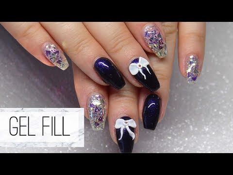 How To: Gel Nails Fill | Plus Glitter Gel & A 3D Bow