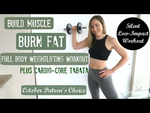 [Silent, Low-Impact] AT HOME Full Body Weight Lifting + Cardio-Core Tabata