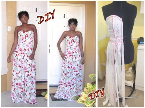 DIY Strapless Evening Gown/ Prom Dress (Draping)