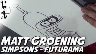 Matt Groening drawing Simpsons and Futurama