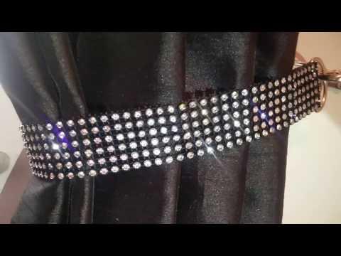 Black /clear Real crystal rhinestone tie backs BY CWUK