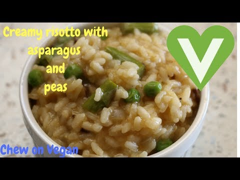 How to make Creamy Vegan mushroom risotto with asparagus and peas