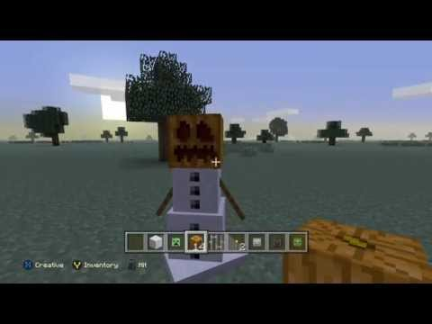 Creating Jack O Lantern Snowman on Minecraft