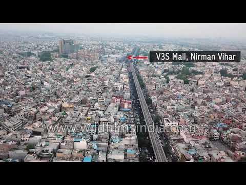 Crowded Delhi: Laxmi Nagar, Nirman Vihar, V3S Mall, Scope Minar in aerial view