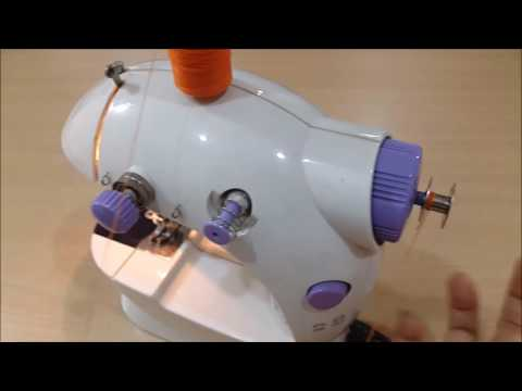How to use a portable mini sewing machine with pedal video on how to wind a bobbin