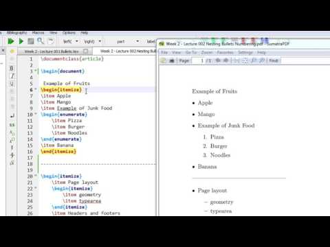 Week 2   Latex Tutorial   Lecture 002 Nested Bullets and Numbering