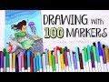 100 MARKERS, 1 DRAWING - Mermaid Ocean Scene - Crayola Challenge | SoCraftastic