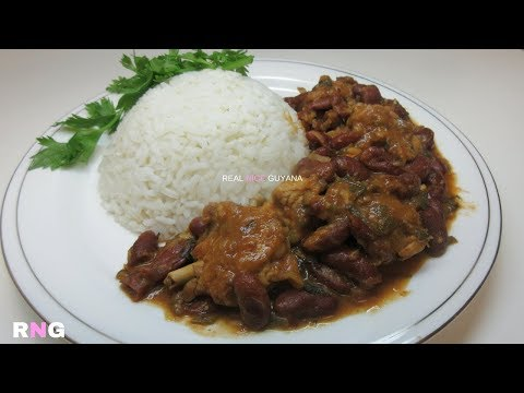 Stew chicken and Beans, step by step Video Recipe II Real Nice Guyana (HD)