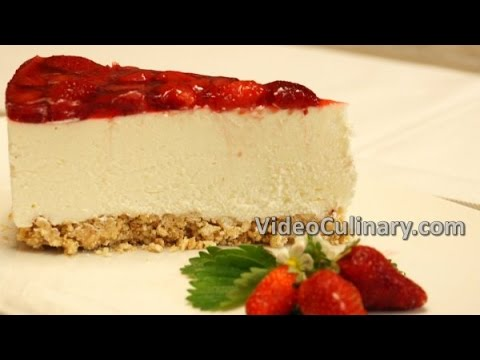 No Bake Strawberry CheeseCake Recipe - Easy Ricotta Cake