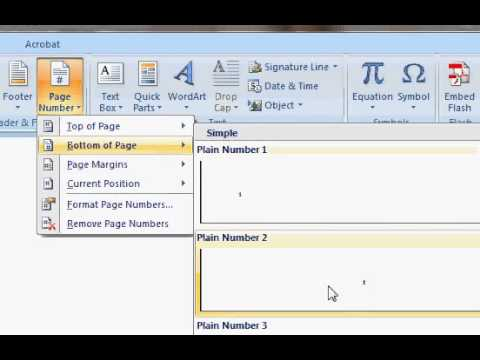 How to insert page number in the footer of word 2007