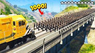 1000 COPS vs. TRAIN! (GTA 5 Funny Moments)