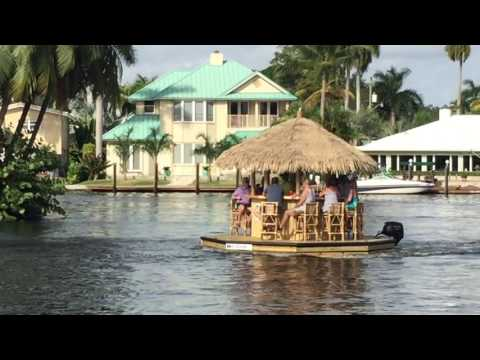 floating tiki bar motoring
