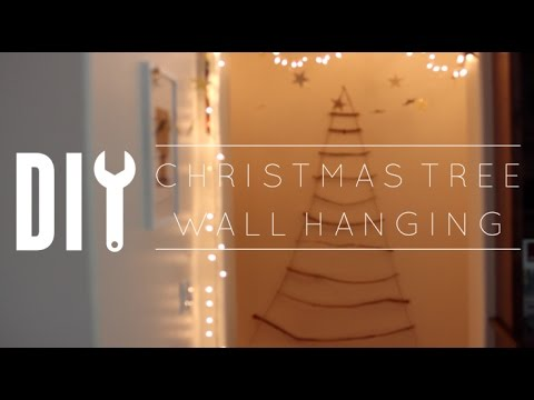 DIY Christmas Decorations // Pinterest Stick Christmas Tree Wall Hanging