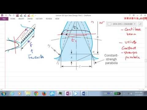 2014W ENGR380 Lecture18 Spur Gear Design (Lewis Equation for Tooth Bending Stress), Part I