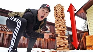 DIY GIANT JENGA CHALLENGE!!! (SCARY TOWER COLLAPSE)