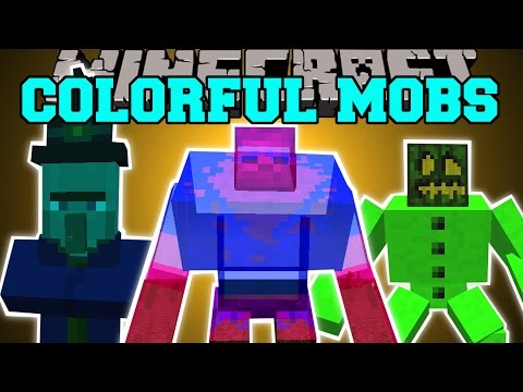 Minecraft: COLORFUL MOBS MOD (DYE MOBS & MAKE THEM INVISIBLE!) Mod Showcase