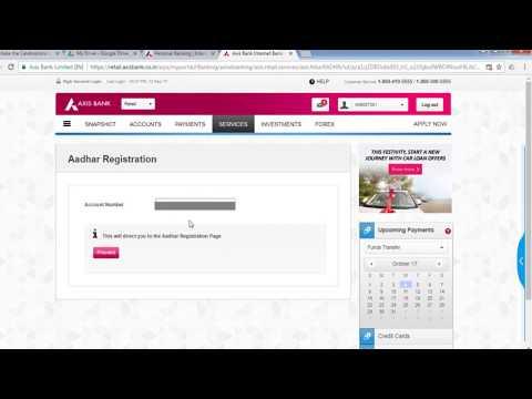 How to online update aadhaar number to axis bank account