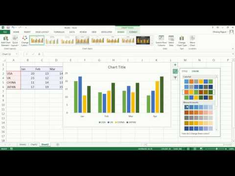 change the charts color and charts elements in excel 2013