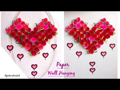Paper Rose Wall Hanging - Hanging Flower - Wall Decoration ideas - how to make paper roses