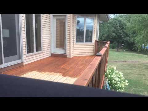 Time lapse staining cedar deck.
