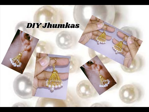 Jhumkas making with link chain without base | jewellery tutorials