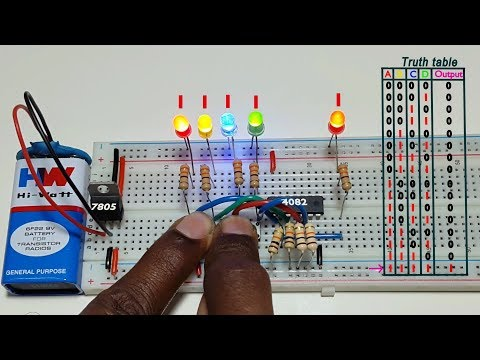 How to work 4 input AND logic gate , using CD4082 ic, in Tamil & English,தமிழ் எலெக்ட்ரானிக்ஸ்