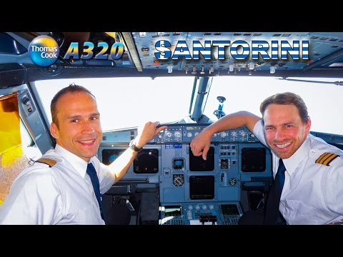 Piloting the Airbus A320 into Santorini