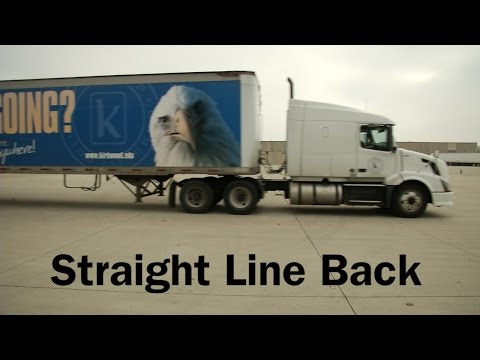 Performing a straight line back in a semi truck