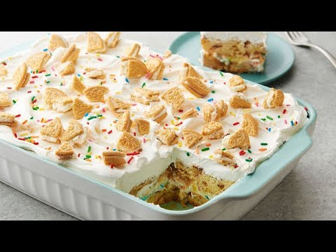 Birthday Cake Cinnamon Roll Lasagna | Pillsbury Recipe