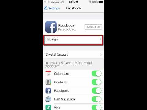 iPhone Facebook Settings