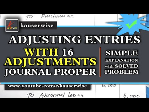 Adjusting Entries  [ #16Journal proper ] with solved problem, :-by kauserwise