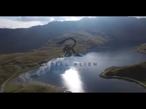 snowdonia mountain range by aerial drone