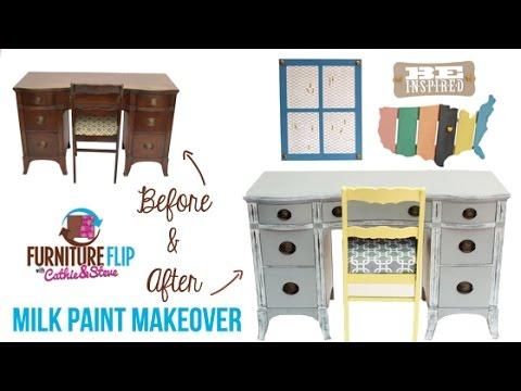 Furniture Flip: Vintage Inspired Home Office Milk Paint Makeover