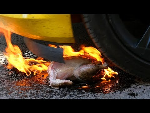 EXPERIMENT COOKING HOT CHICKEN WINGS WITH FIRE AND WHEELS