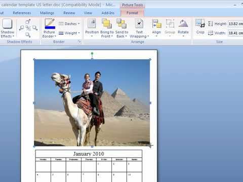 Photo calendar template instructions
