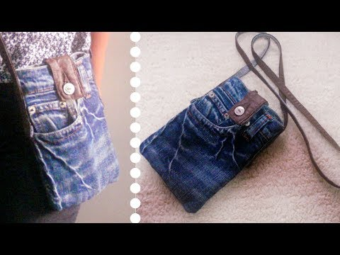 DIY Sling Bag for Phone Out of Old Jeans *Simple & Easy * Recycled Craft