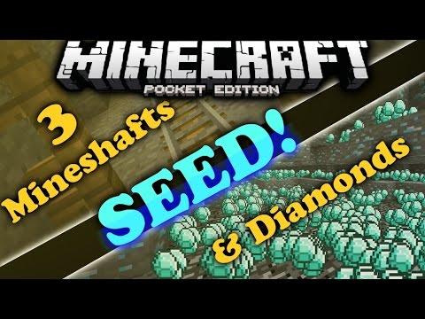 Amazing seed?! 10+ DIAMONDS & 3+ MINESHAFTS! Minecraft Pocket Edition 0.11.0 - 0.12.0