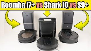Roomba i7+ Vs S9+ vs Shark IQ Robot Auto Empty - Robot Vacuum TESTS & Comparison
