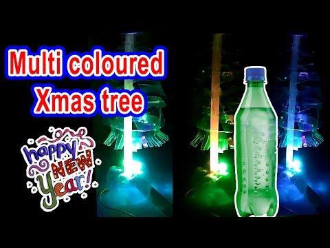 How to make lighting Xmas tree using plastic bottle
